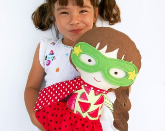 Rag doll superhero girl with watermelon print toddlers gift kids toy, custom fabric doll with super hero costume, personalized kids gift