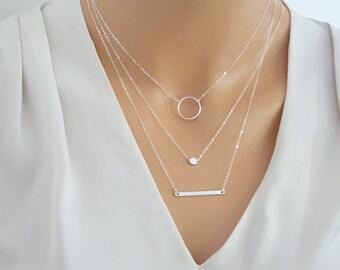 Silver layered necklace set, Silver Bar Necklace, Karma eternity necklace, Dot Necklace, 3 sepereate necklace