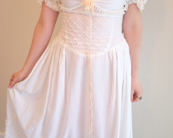 1970's Jeanne Fantasia Original Dress/ Lace/ Formal/ Wedding