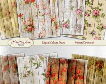 75% OFF SALE Shabby & Grunge Flowers - Digital Collage Sheet Digital Cards C106 Printable Download Image Tags Digital Atc Roses Card ACEO