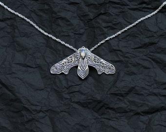 Silver moth pendant - Hawk moth necklace - Moonstone pendant - Sterling silver pendant - Gift Idea