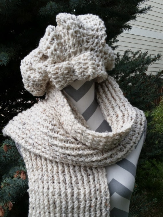 Crochet Ribbed Hat : Handmade Crochet Ribbed Scarf and Hat Set, Oatmeal Color, Womans Hat ...