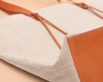 large tote bag // 18 oz. linen cotton canvas // veg tan leather // zipper