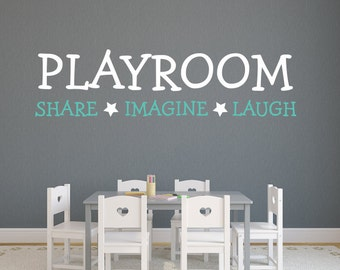 Exceptionnel Playroom Wall Decal   Share, Imagine And Laugh Quote Wall Decal   Kids Wall  Decal