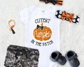 Cutest Pumpkin in the patch (Shirt only), Halloween , babys first halloween, Halloween, little pumpkin, babys first halloween