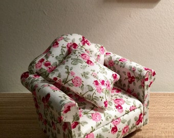 Dollhouse armchair cushion dolls house pink green single seat sofa 1 12th scale miniature