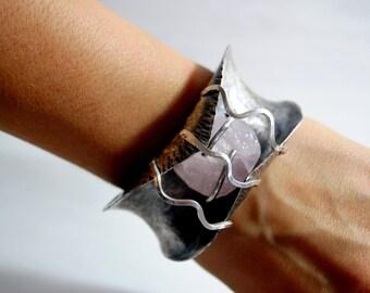 Silver Cuff Bracelet with Rose Quartz