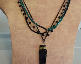 "Black Obsidian Arrowhead on 23.5"" multiple chain necklace"