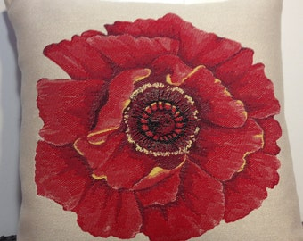 Decorative Pillow Cover Throw Pillow Embroidered Red Flower Pillow