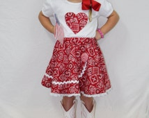 Girls Country Outfit,Red bandana outfit, Country girl outfit, 4th of July outfit, Twirl skirt outfit, Appliqued heart t shirt,Personalized