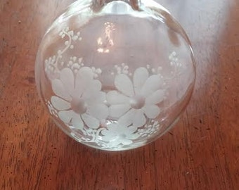 Reduced Vintage Etched Perfume Cologne Bottle