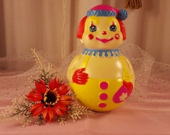 1972 Roly Poly Jingle clown, Wobble Toy, The First Years, Vintage Baby Toy