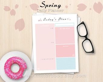 A4/LETTER - Daily Planner, Scheduler Worksheet, One Page Template Agenda Easy PDF, Pink Sakura Organizer, Instant Download Digital Printable