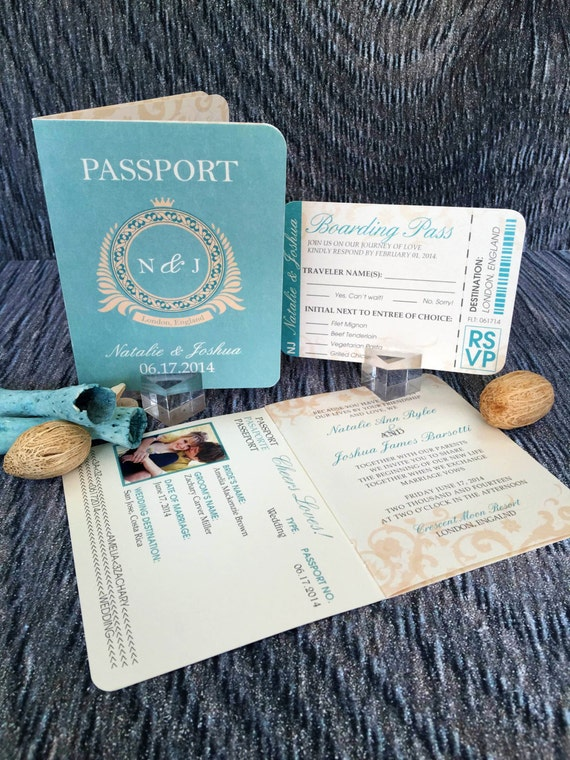 Passport wedding invitation classic style wedding invitation for Passport wedding program template