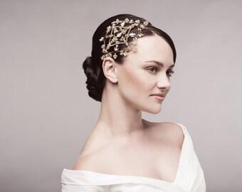 Honey gold wedding hair accessory, bridal headpiece, Art deco bridal hairpiece