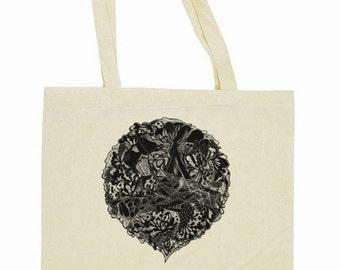 "Tote Bag ""Black days"" / 41 × 36 cm / 10 L / organic cotton printed recto"
