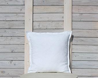 Decorative linen pillow cover in cream white / Linen throw pillow / Custom size