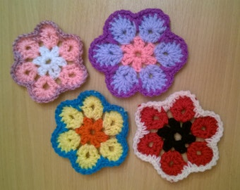 African Flower Crochet Coaster Set