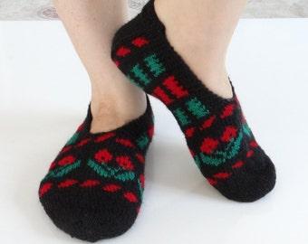 Home Slippers Socks Black- Red-Green color Turkish Slippers socks Gift for her