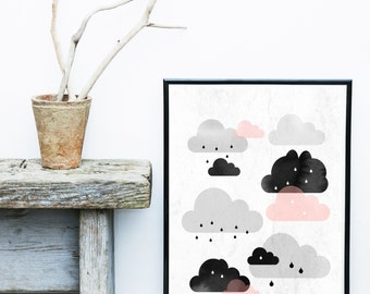 Clouds print, Nursery Printable, Scandinvian Nursery Print, Scandi Print,  Abstract Wall Art, Instant Download, Home Decor, Wall Decor