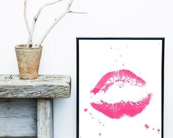 Lips Print, Watercolor Painting, Printable Art, Pink Lips, Scandinavian Art, Wall Decor, Wall Art, Digital Download