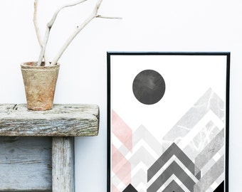 Abstract Geometric Print, Printable Art, Abstract Mountains, Scandinavian Design, Minimalist Art, Abstract Wall Art, Instant Download