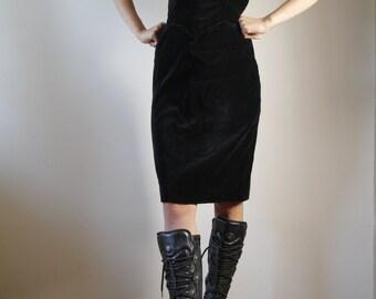 Gothic Black Velvet Dress