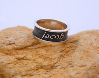 Custom silver ring, Personalized silver ring, Engraved silver ring, Custom made jewelry, Personalized Stacking ring
