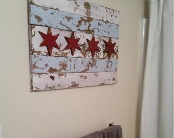 Chicago Flag Wood Art// Custom Made