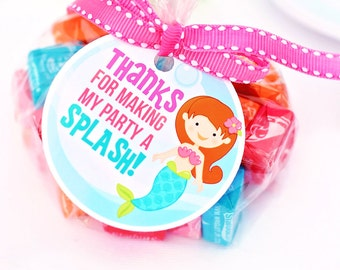 Mystical Mermaid Printable Party Favor Tags, Cupake Toppers, Printable Mermaid Party Favors, Thanks for Making My Party a Splash, Thank You