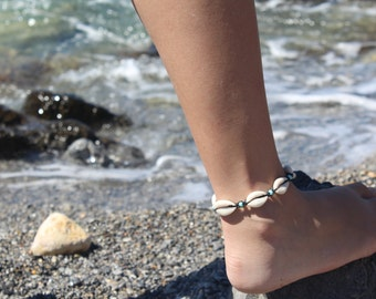 Shell anklet, shell bracelet, cowrie shell jewelry