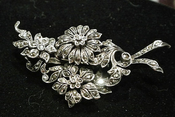 1900s Antique Brooch Sterling Silver Marcasite Art Nouveau Victorian Edwardian Brooch Flowers Floral Brooch Tiered Layered Trombone Clasp