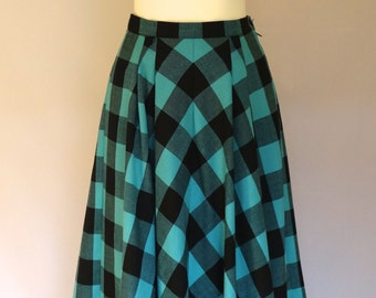 FABULOUS Vintage 1980's skirt, does 1950's skirt, Americana circle skirt, blue & black checked skirt UK 8 - 10