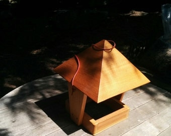 Handcrafted Wood Bird Feeder With Overhanging Roof