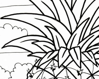 pineapple coloring page embroidery pattern digital download adult coloring page coloring page beach scene pineapple pattern - Palm Tree Beach Coloring Page