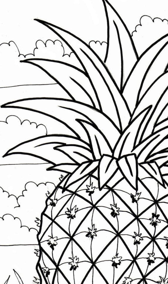 Pineapple coloring page embroidery