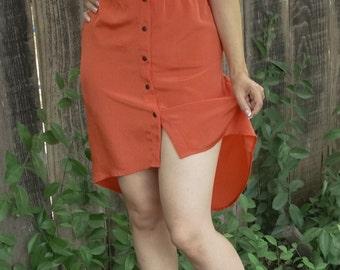 SALE!!! Orange Button Up Dress High Low 90s High Low Dress Button Dress High Low Skirt Orange Dress Neon Dress