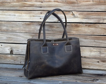 Leather Tote Bag / Large Hand Stitched Bag / Unisex tote / Market Tote / Lap Top Tote / Feral Empire