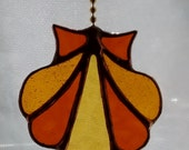 Stained Glass Seashell Fan Pull Pendant in Amber and Gold