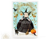 Halloween card, Witch, Marie Antoinette, macarons, Fall, Autumn, snow, crow, broomstick, French, spider, pumpkin, blue, vintage style