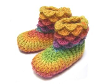 Wool slippers suede sole booties 18 to 24 months rainbow yellow pink green toddler girl SALE