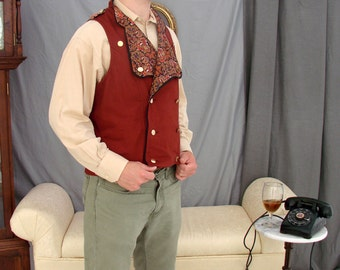 Men's military-inspired double-breasted vest waistcoat in rust red cotton twill and floral paisley print cotton one of a kind