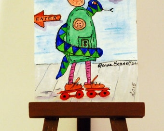 """ON SALE ACEO """" Humbert and Sssssnake Roll On By """" Original on Heavy Art Paper"""