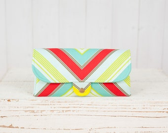 SmartPhone Purse 12x - Ultimate Wallet Clutch with ID pocket /  Zag Stripe in Turquoise -- Ready to Ship