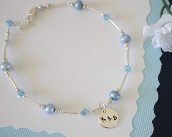 Blue Pearl Anklet, Initial Charm Anklet, Pearl & Initial Sterling Silver Adjustable Anklet, couples Anklet, Monogram Anklet, Something Blue