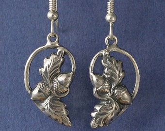 Acorn Oak Leaf Sterling Silver Earrings