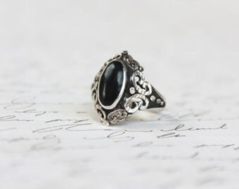 Vintage 30s Black Onyx Ring • 1930s Sterling Silver Ring • Art Deco Black Onyx Ring