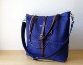 Tall Tote in Royal Blue Waxed Canvas // With leather straps and detachable shoulder strap