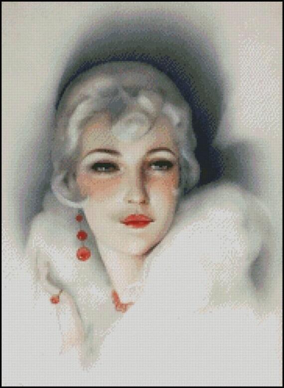 VINTAGE WOMAN PORTRAIT cross stitch pattern No.463