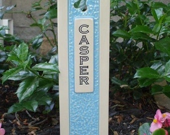 Pet Grave Marker Memorial Headstone Tombstone / custom handcrafted ceramic burial marker for all pets / sky blue and cream colored